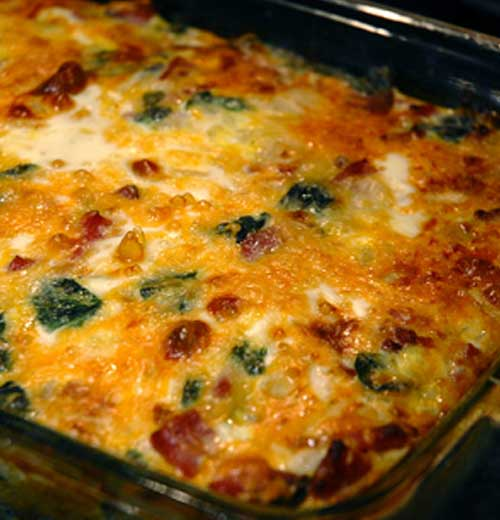 Egg Ham and Spinach Hashbrown Casserole
