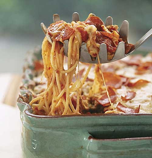 Recipe for Pizza Spaghetti Casserole