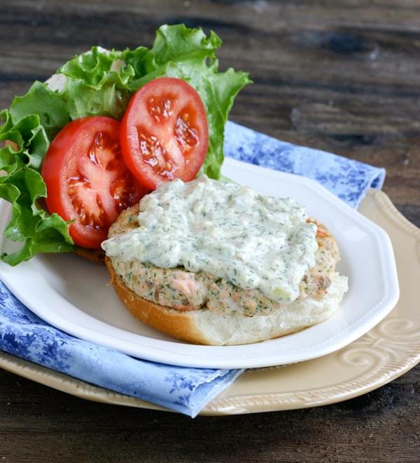 Recipe for Salmon Burgers with Dill Tartar Sauce