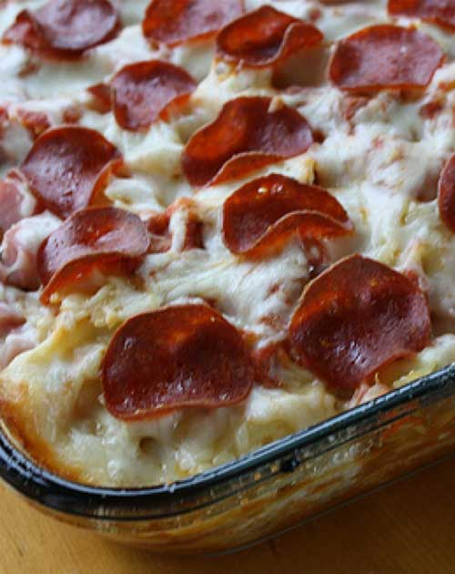 Recipe for 3 Meat Pizza Casserole