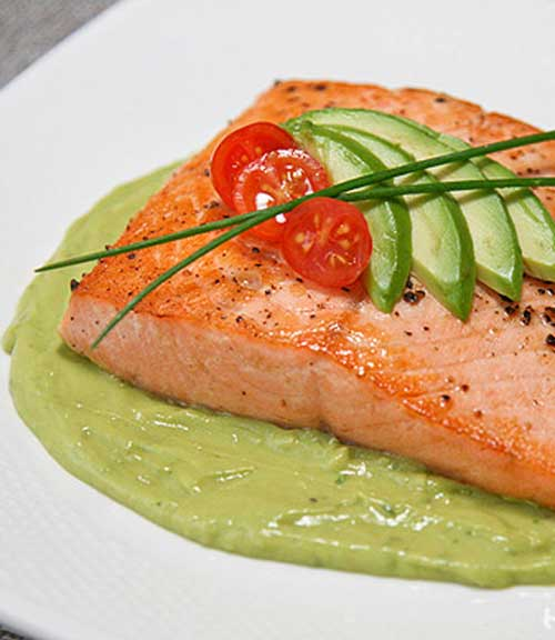 Recipe for Pan Seared Salmon with Spicy Avocado Puree - This dish brings delicious and healthy together. It is absolutely fantastic!