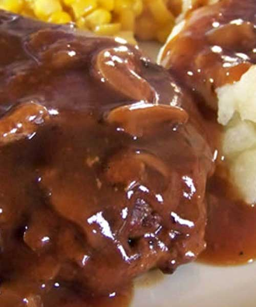 Recipe for Salisbury Steak - This recipe has been in my family for years. It's easy to cook, but tastes like it took hours to make! I usually make enough extra sauce to pour over mashed potatoes. YUM!