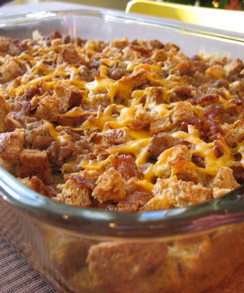 Recipe for Breakfast Casserole - This super easy and budget friendly breakfast casserole is loaded with potatoes, sausage, AND cheese! They are going to have trouble controlling themselves when this is on the table.