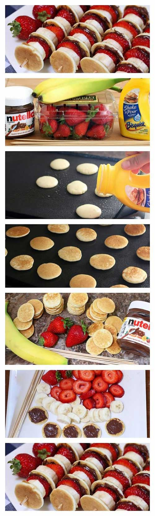 Recipe for Nutella Mini Pancake Kabobs - Soft and pillowy pancakes slathered with Nutella and layered on skewers with fresh strawberries and banana.