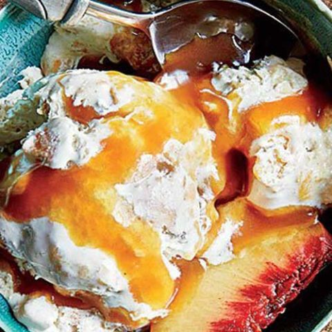 Recipe for Peach Cobbler Ice Cream with Caramel Sauce - Here's a delicious ice-cream recipe that doesn't require an ice-cream maker: Just stir the ingredients together, and freeze.