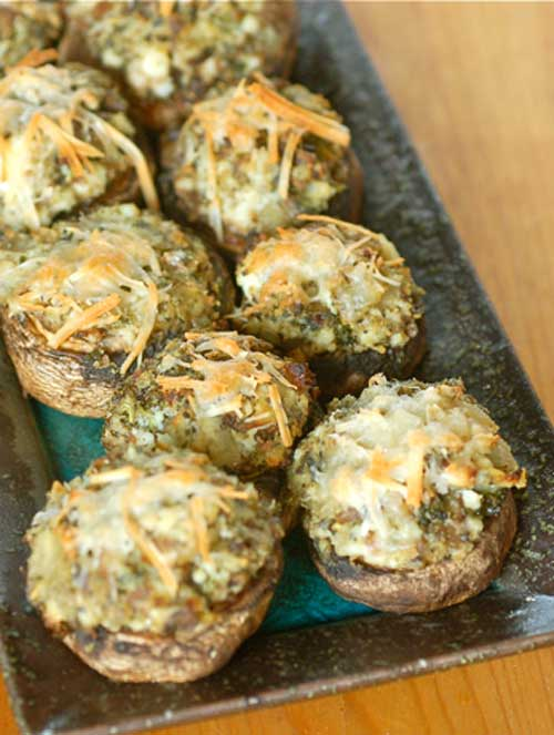 Recipe for Farmers Market Stuffed Mushrooms - Stuffed mushrooms are such an easy dish to make, I am surprised I do not make them more often. These are great as an appetizer to dinner or served at a cocktail party. Enjoy them for any of your upcoming get-togethers.