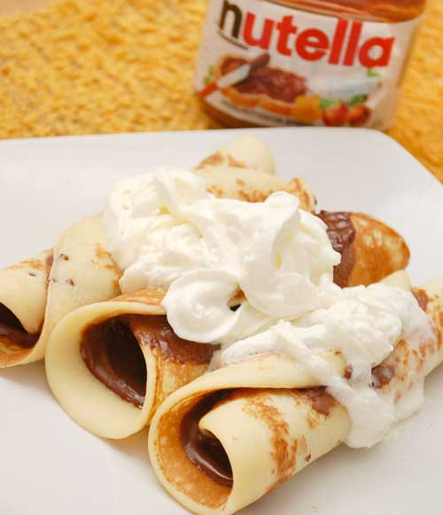 Recipe for Supreme Nutella Crepes - Crepes can be either savory or sweet. The following recipe uses Nutella (a chocolate hazelnut spread) as the filling, although any other sweet filling will also work with this recipe.