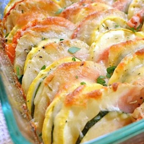 Recipe for Summer Vegetable Tian - Roasting the vegetables magnifies their flavor and gives them just a hint of sweetness. It's veggie-tastic.