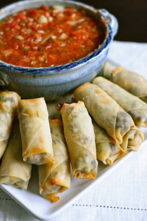 Recipe for Baked Southwestern Eggrolls - Every single member of my family goes crazy for these – even my picky 2 year old.