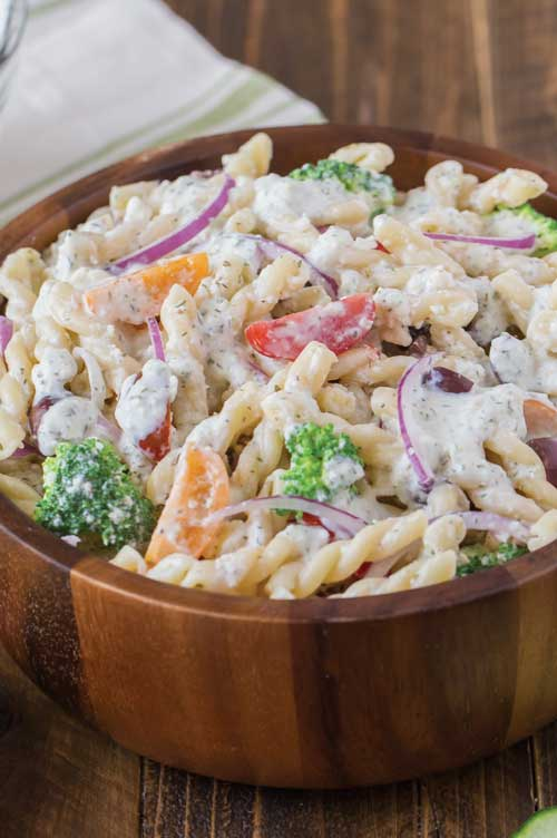 Greek Pasta Salad with Cucumber Yogurt Dressing