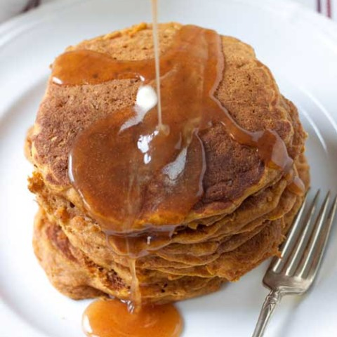 Recipe for Pumpkin-Apple Pancakes with Apple Cider Syrup - This is a glorious way to start any fall day. Pumpkin AND apples! If you're like me you may want to make extra just so you can have these pancakes for breakfast and dinner.