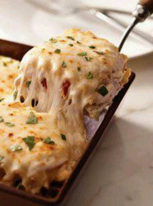 Recipe for Creamy White Chicken Lasagna - If you love cheesy, creamy goodness, then you will love this dish!