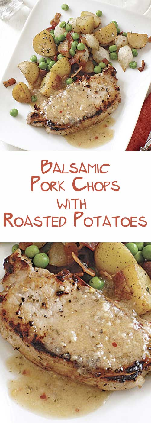 Recipe for White Balsamic Pork Chops with Roasted Potatoes - The key to timing this all-in-one dinner right is to marinate the pork first and then prep and cook the potatoes.