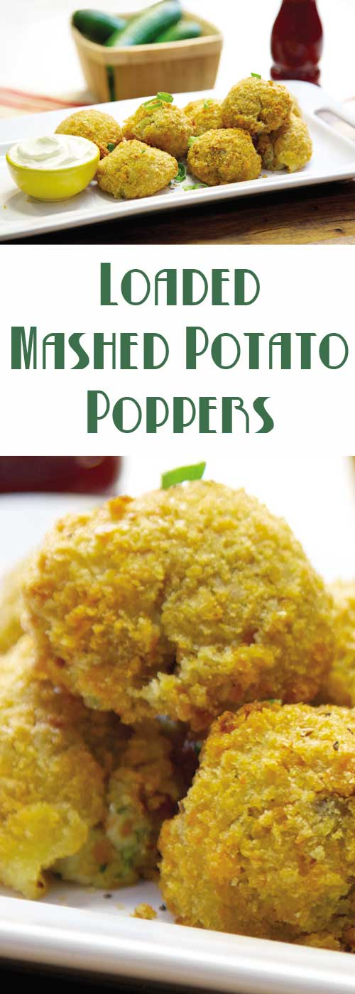 "Recipe for Loaded Mashed Potato Poppers - Don't let those leftover mashed potatoes go to waste. Use them to make these fabulous poppers. A spicy way to make them go ""Mmmm!"""