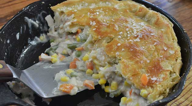 Recipe for Leftover Turkey Cast Iron Skillet Pot Pie - I don't know why pot pie tastes so much better in an iron skillet than in a pie pan, but it does. And you'll be amazed how easy it is, how fast it cooks up and comes together!