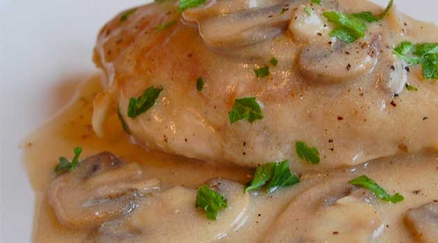 Recipe for Baked Chicken with Mushroom Sauce - This dish was so warm and inviting. The mushroom sauce was creamy and a little tangy....so good over mashed potatoes.