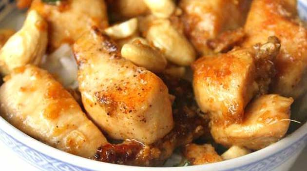 Recipe for Kung Pao Chicken - This recipe here is a really good one – the Kung Pao tastes like it's supposed to! And! It's really quick too - marinate 30 minutes, then fry.
