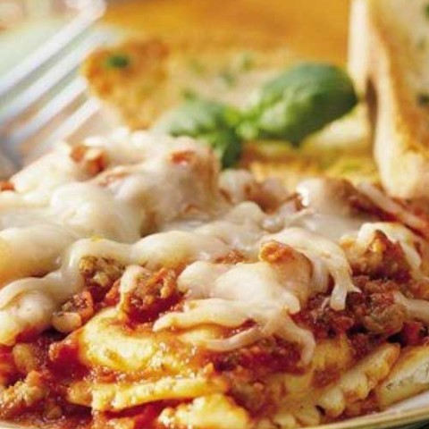 Recipe for Do-Ahead Ravioli Sausage Lasagna - Get a jump start on a delicious casual dinner. Make a pasta casserole the day before and tuck it in the fridge for next-day baking.