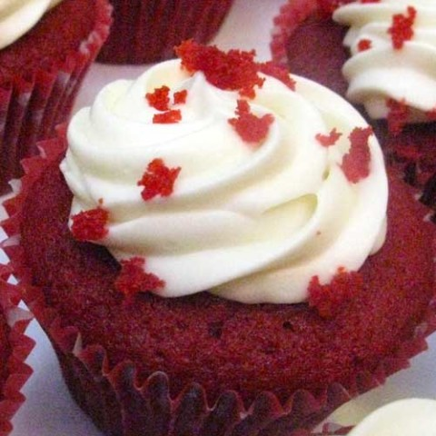 Recipe for Red Velvet Cupcakes - This mini version of the classic Red Velvet Cake is one of the more popular offerings in bakeries all across the country. Whip up a batch anytime, with this recipe!