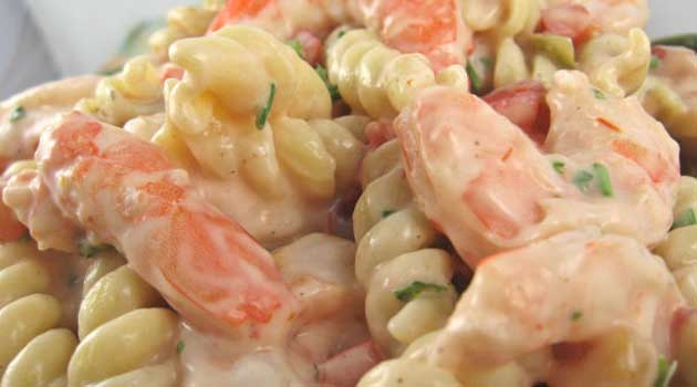 Recipe for Shrimp Louis Pasta Salad - When served on a bed of mixed greens, this shrimp Louis pasta salad makes a great luncheon or light supper meal.