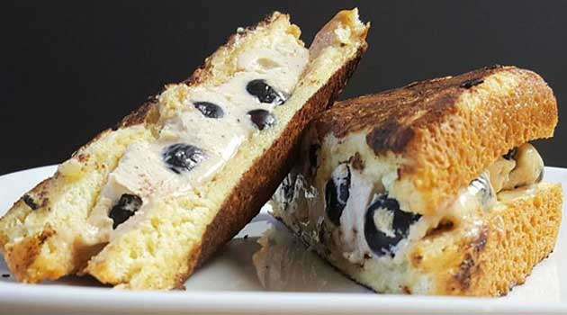 Recipe for Blueberry Stuffed French Toast - Take your breakfast up a notch with this deliciously sweet French toast stuffed with creamy mascarpone cheese and whole blueberries.