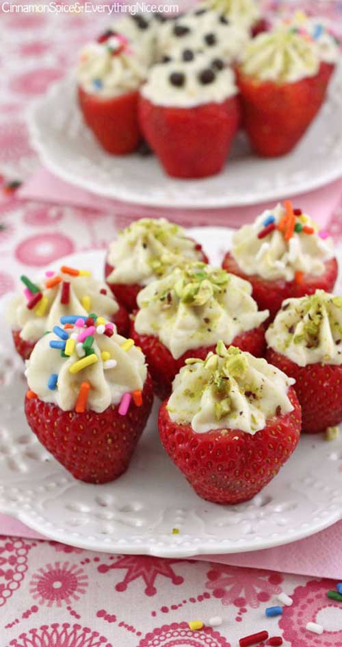 Recipe for Cannoli Cream Filled Strawberries - Forget the deep-fried shell and enjoy your cannoli cream in luscious strawberries for a healthier version of this classic treat.