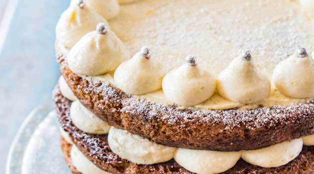 Recipe for Carrot Cake with Lemon Ginger Mascarpone Icing - Take an extra delicious carrot cake and top with an icing that is zesty and light and definitely not too sweet, and you get this not to be missed treat!