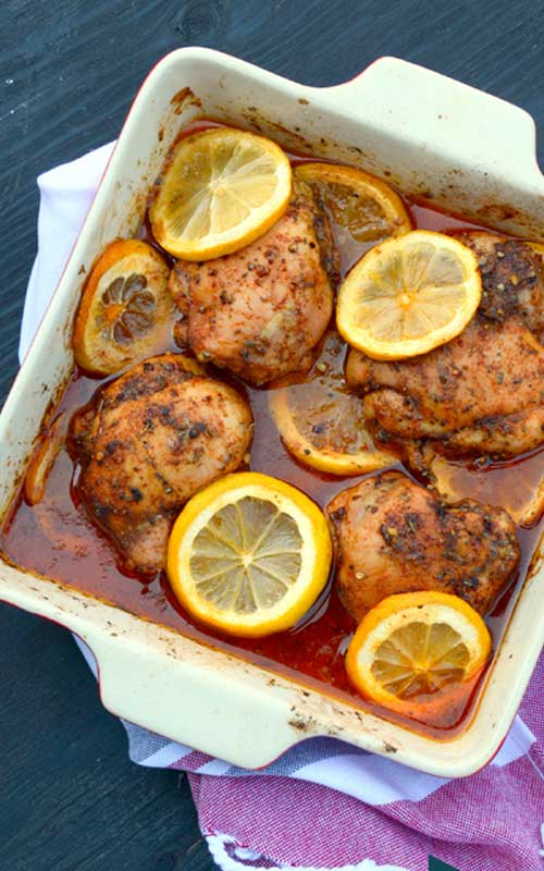 Recipe for Mediterranean Spiced Lemon Roasted Chicken - What we adore most about this roast chicken? We love how simple it is to make...along with the feast it will give your senses.