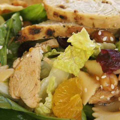 Recipe for Bowtie Chicken Salad - Your next BBQ cries out for this Bowtie Chicken Salad! It's easy, with few ingredients and has both sweet and savory elements and textures, making it a great side dish.