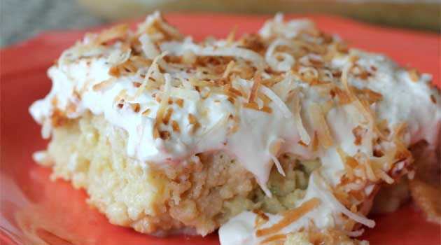 Recipe for Coconut Tres Leches Cake - Despite the detailed instructions, it is quite simple to make. And perfect for a party since it must be prepared ahead of time and allowed to refrigerate.