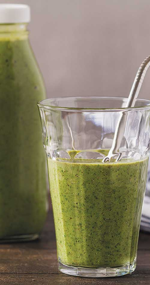 Recipe for Power Green Smoothie - This smoothie is chock-full of green goodness. Pineapple and pear balance the leafy greens making this a go-to smoothie at any time.