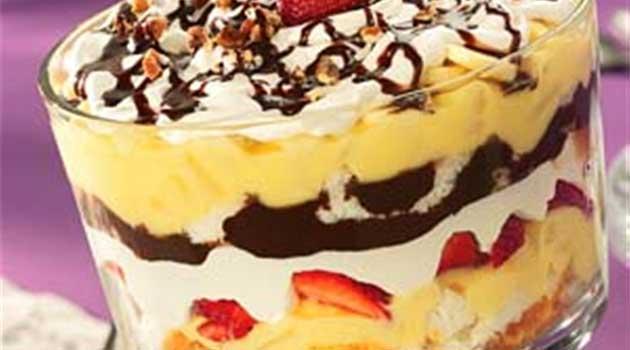 Recipe for Banana Split Trifle - Bananas, strawberries and chocolate come together for a fun banana split trifle.