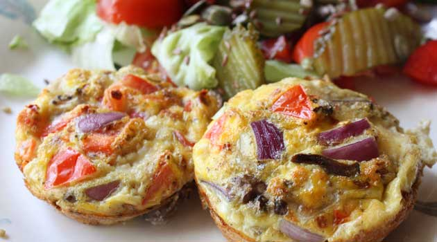 Recipe for Breakfast Omelet Muffins - Here is a great way to prepare breakfast for the whole family and not have to worry about eggs getting cold.