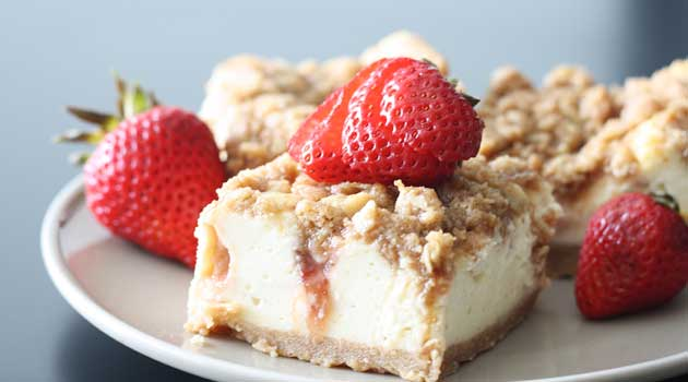 """Recipe for Strawberry Cheesecake Bars - """"Wow!"""" That's what the reaction will be when you serve these delectable Strawberry Cheesecake Bars."""