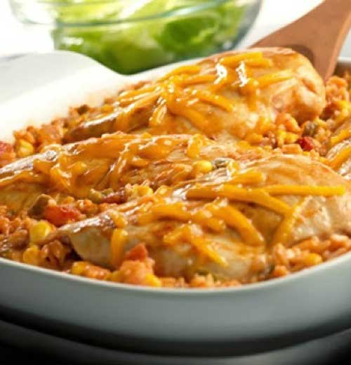 Got 5 minutes? That's all you need to put together this tasty, picante-spiked dish. Then just pop it in the oven, and in less than an hour, you'll have a cheesy, family-friendly dish.