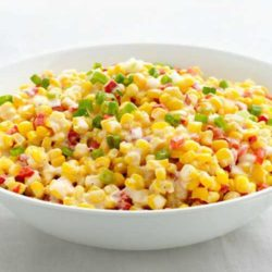 This Confetti Creamed Corn is the perfect quick, easy, and creamy side dish that's ready in under 15 minutes.