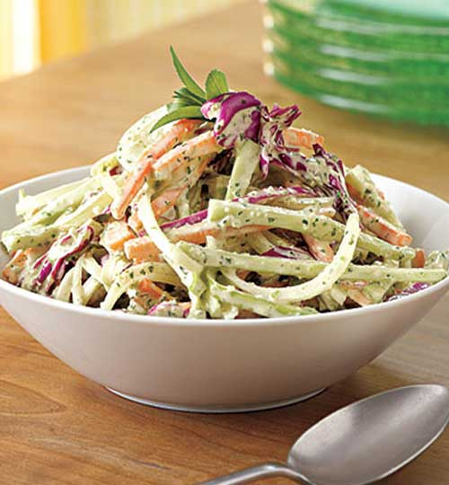 Breathe some life into coleslaw with tarragon, basil and garlic. You can make this Green Goddess Slaw up to a day ahead. Keep it covered in the fridge until you are ready to serve.
