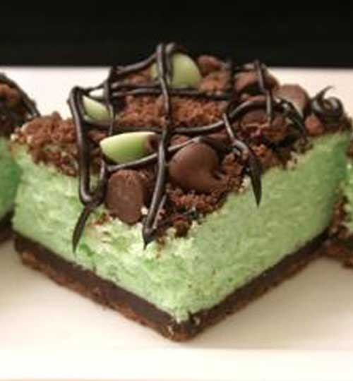 Recipe for St Patricks Chocolate Mint Cheesecake Bars
