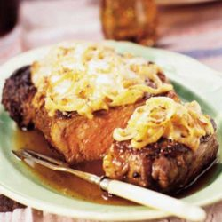 Recipe for French Onion Rib Eye Steak