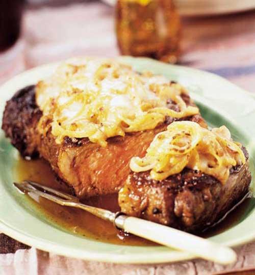Recipe for French Onion Rib Eye Steak