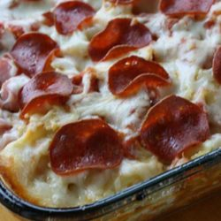 Pizza was on the menu until I came across this 3 Meat Pizza Casserole Recipe. I didn't feel like dealing with a crust, and this looked really good. And it made a hit! Just an excellent blend of flavors. This is a simple recipe-but there is some prep time involved.