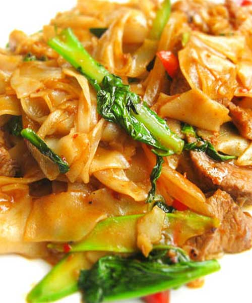 There isn't a drop of alcohol in this dish — the name Thai Drunken Noodles refers to how much you'll want to drink to combat the heat. We suggest a nice cold beer or sparkling wine.