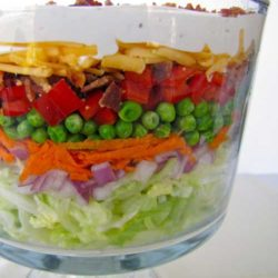 This Layered Picnic Salad usually has something for everyone with all the different components of sweet, salty, crunchy and creamy. It is important however, that all the ingredients are at their prime.