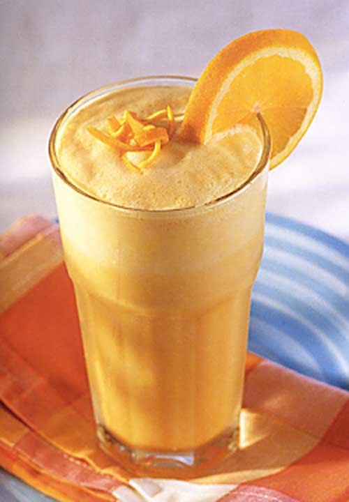 Recipe for Copycat Orange Julius - At one of our brunches, someone made THE.BEST. drink- a knock off of an Orange Julius. Even if summer never gets here, it's time for one of these!