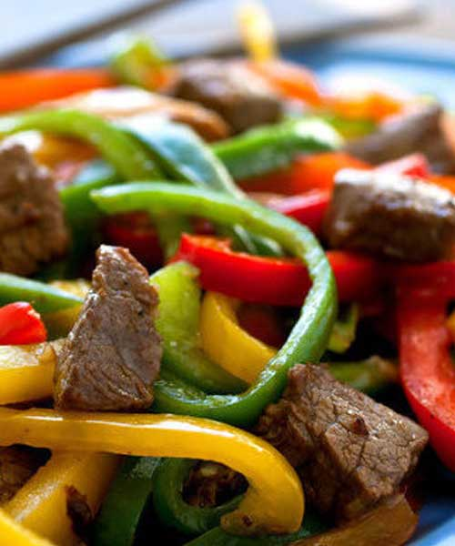 Recipe for Rainbow Beef - In this version of a stir-fry classic I am using less beef than a typical recipe would call for and adding in some shiitake mushrooms and extra peppers