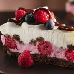 Recipe for Chocolate and Berries Yogurt Dessert - Dive into a frosty layered dessert with fudgy cookies, whipped fluffy yogurt, hot fudge sauce and fresh berries.