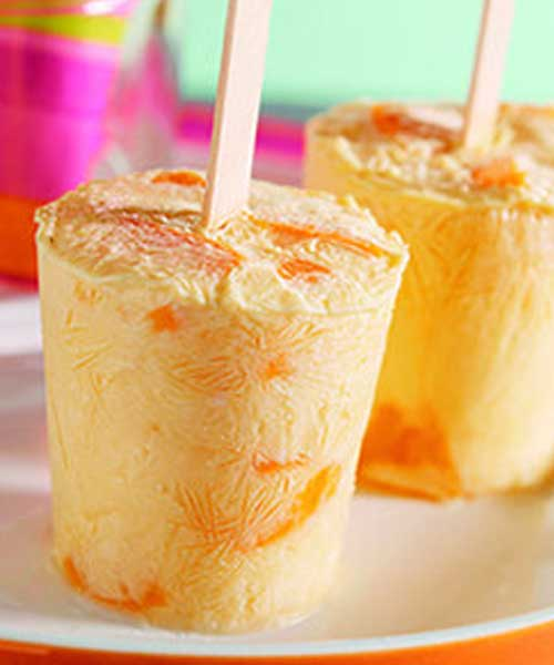 "Recipe for Peachsicles - Cool your taste buds with this simple, tasty treat from the American Heart Association's magazine cookbook ""Healthy Recipes Kids Love."""