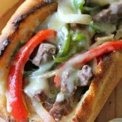 Recipe for Philly Cheesesteak with Garlic Aioli - The garlic aioli served as a wonderful complement to the meaty goodness along with the creamy, crumbly cheese. I really loved that the flavors melded so well together.