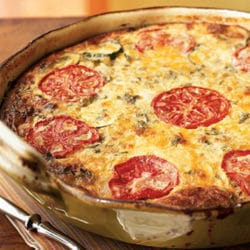 Recipe for Garden Vegetable Crustless Quiche - The season's best vegetables and a variety of cheeses make this vegetable quiche a crowd-pleasing and healthy meal that can be assembled the night before, refrigerated and cooked just prior to serving.