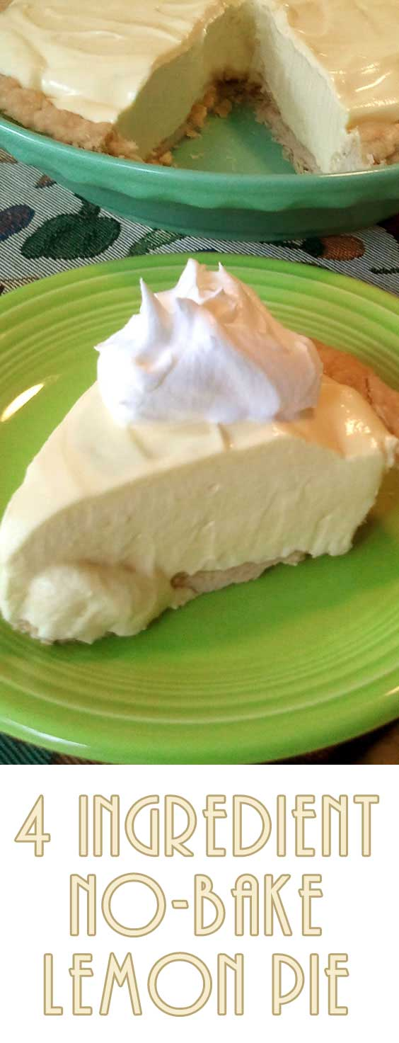 Only 4 ingredients are needed to make this no-bake lemon pie...SOOO easy! (and creamy and cold...perfect for those hot summer days!) #lemonpie #nobakepie #easydessert #dessertrecipe